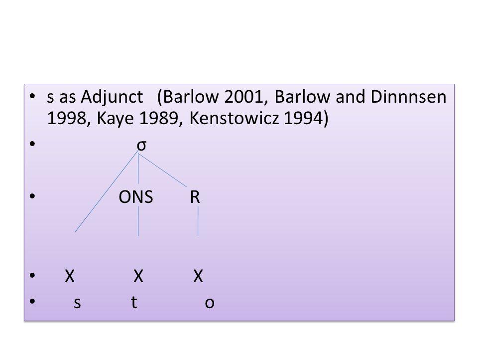 s as Adjunct (Barlow 2001, Barlow and Dinnnsen 1998, Kaye 1989, Kenstowicz 1994)