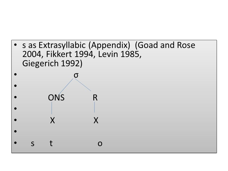 s as Extrasyllabic (Appendix) (Goad and Rose 2004, Fikkert 1994, Levin 1985, Giegerich 1992)