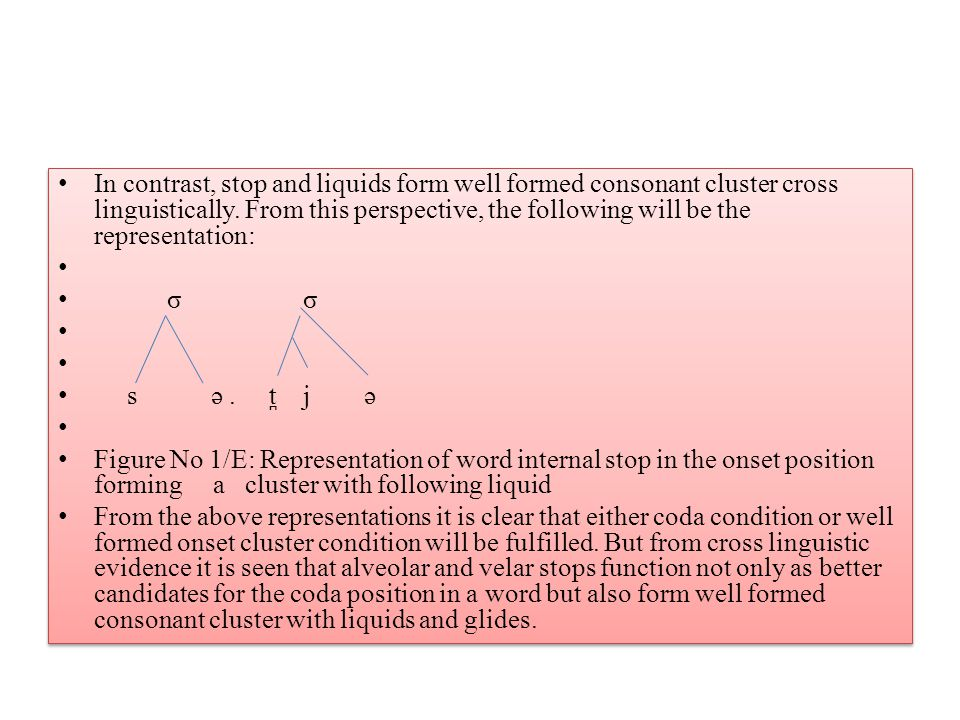 In contrast, stop and liquids form well formed consonant cluster cross linguistically. From this perspective, the following will be the representation: