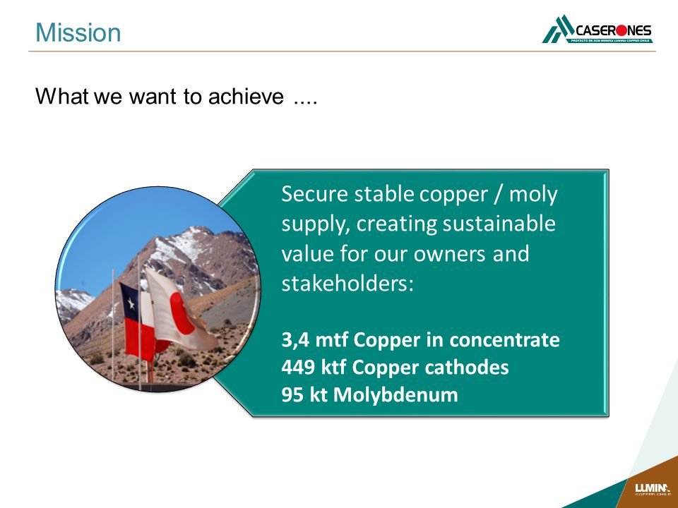 Mission What we want to achieve .... Secure stable copper / moly supply, creating sustainable value for our owners and stakeholders: