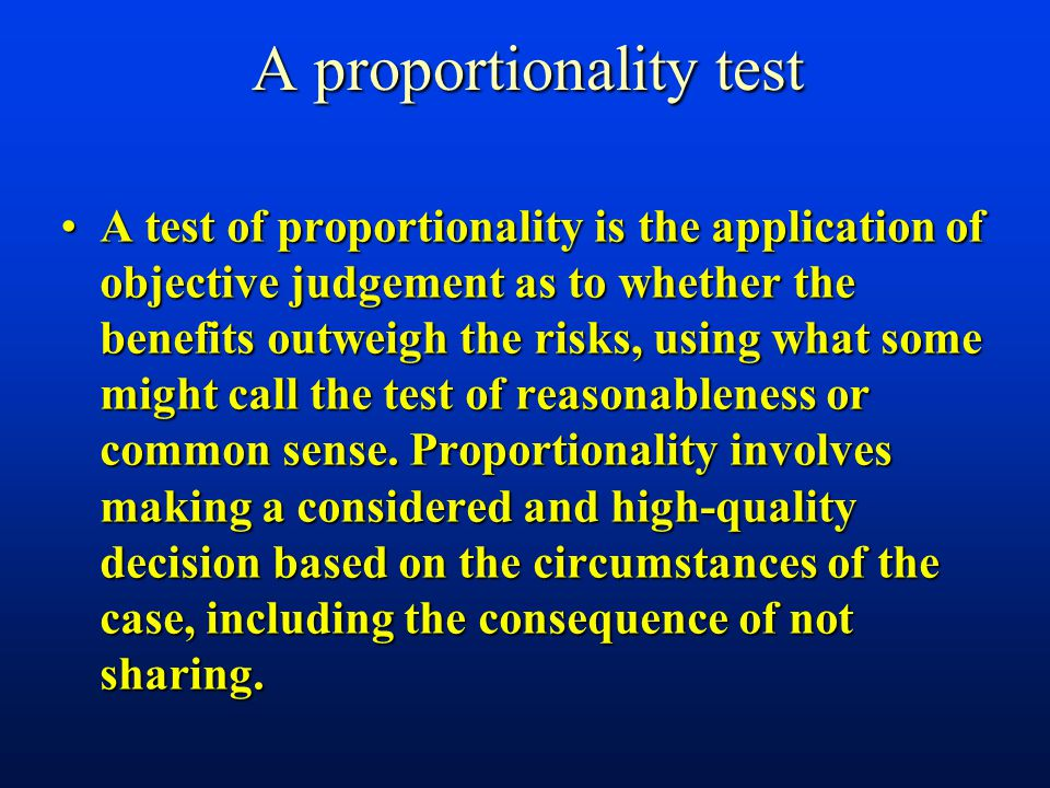 A proportionality test