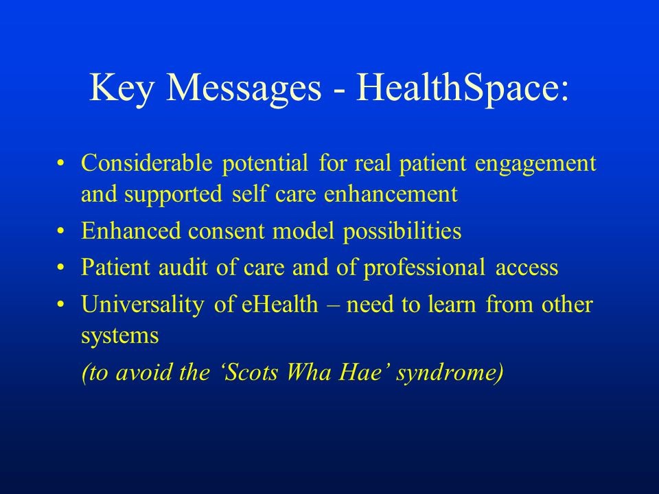 Key Messages - HealthSpace: