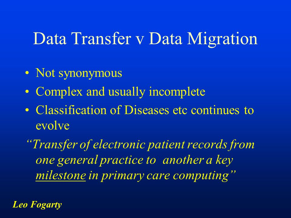 Data Transfer v Data Migration