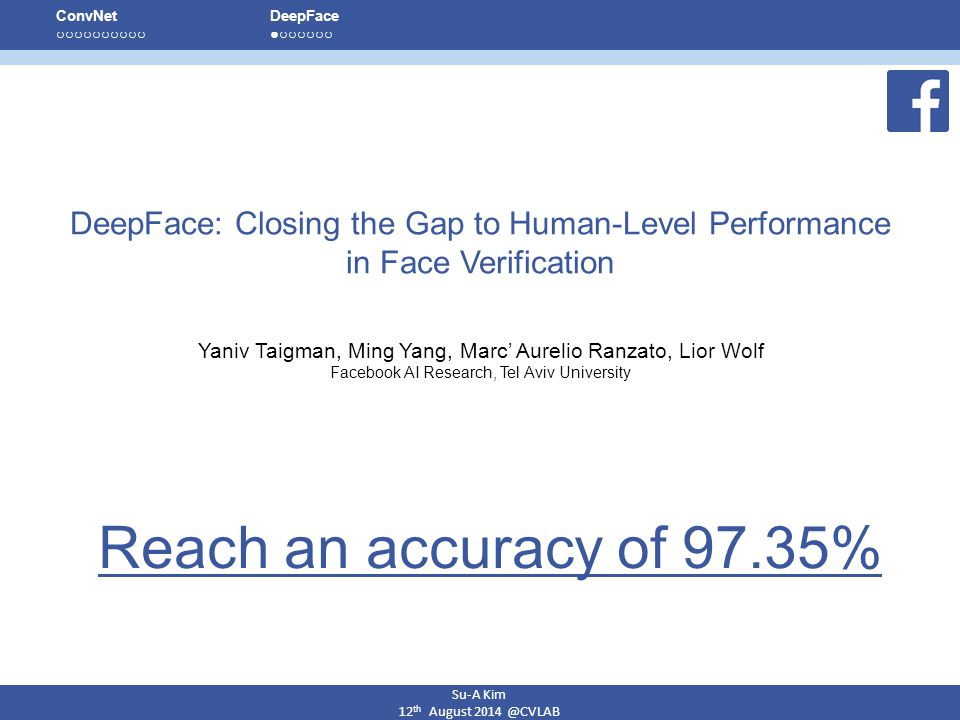 Su-A Kim 12th August 2014 @CVLAB. ConvNet. ○ ○ ○ ○ ○ ○ ○ ○ ○ ○ DeepFace. ● ○ ○ ○ ○ ○ ○ DeepFace: Closing the Gap to Human-Level Performance.