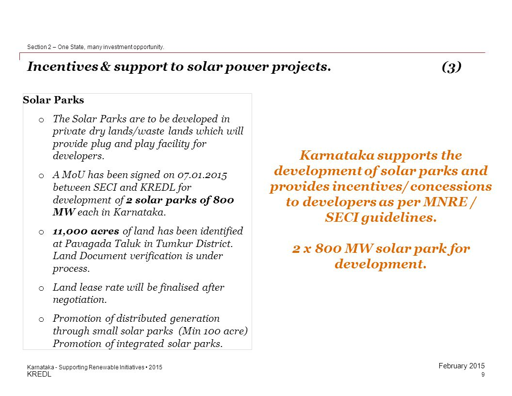 Incentives & support to solar power projects. (3)