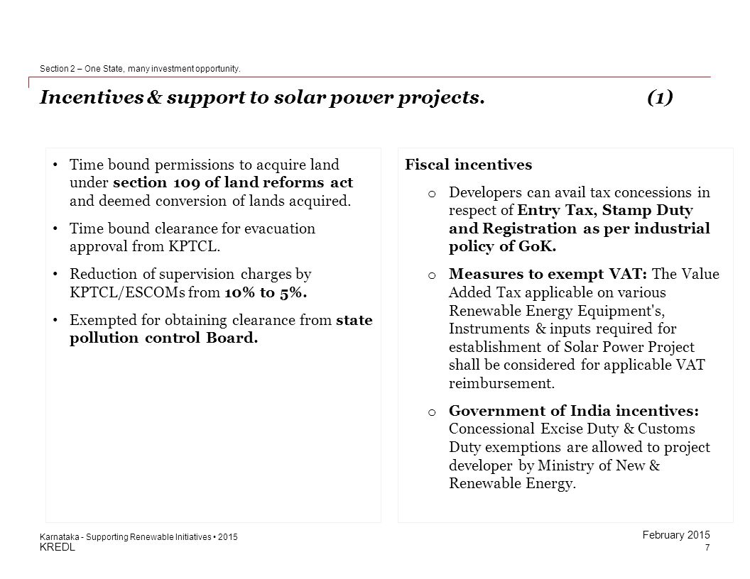 Incentives & support to solar power projects. (1)