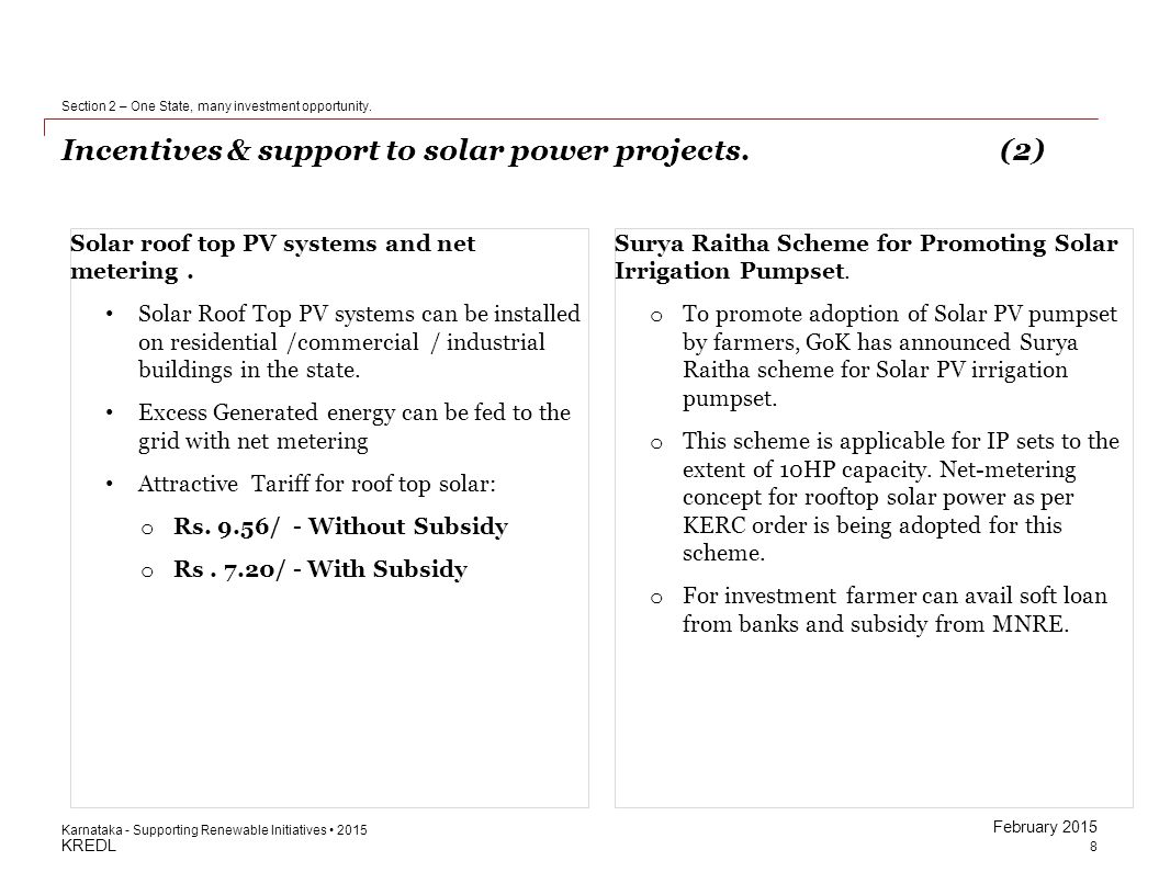 Incentives & support to solar power projects. (2)