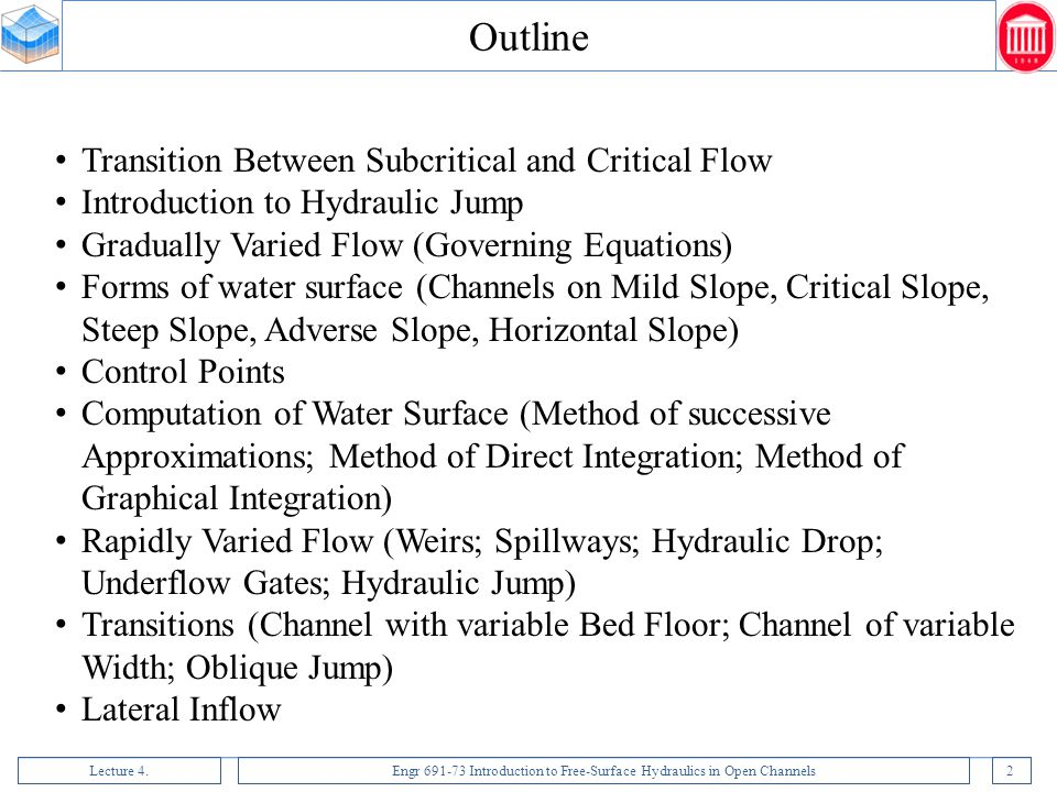 Outline Transition Between Subcritical and Critical Flow