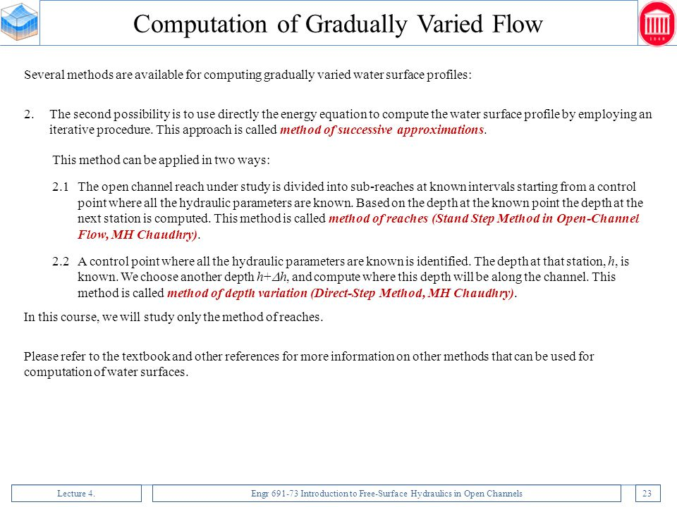 Computation of Gradually Varied Flow