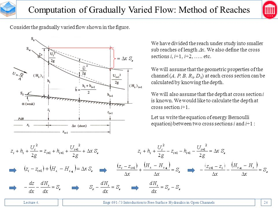 Computation of Gradually Varied Flow: Method of Reaches