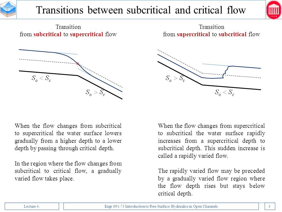 Transitions between subcritical and critical flow