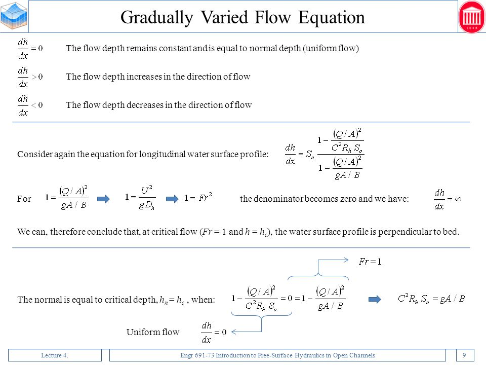 Gradually Varied Flow Equation