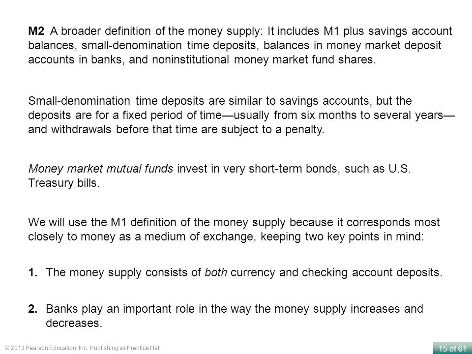M2 A broader definition of the money supply: It includes M1 plus savings account balances, small-denomination time deposits, balances in money market deposit accounts in banks, and noninstitutional money market fund shares.