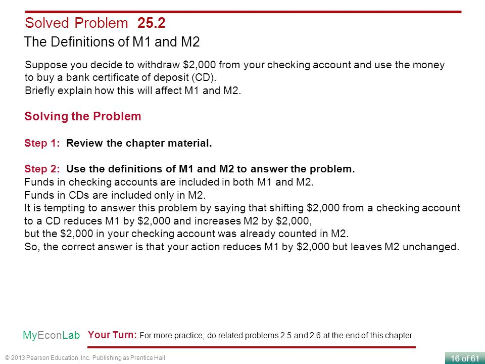 Solved Problem 25.2 The Definitions of M1 and M2 Solving the Problem