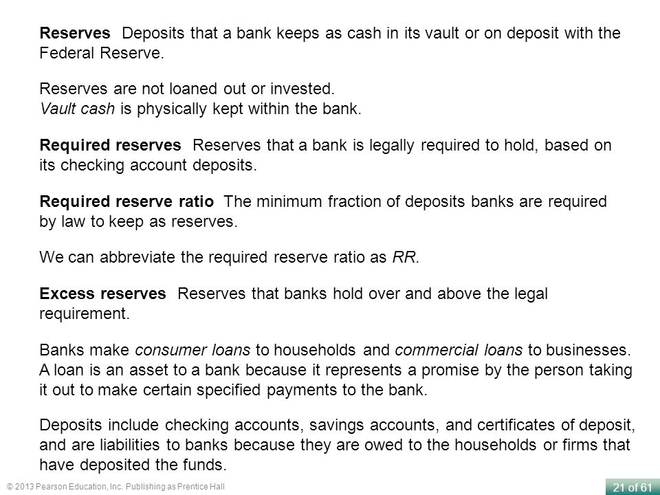 Reserves Deposits that a bank keeps as cash in its vault or on deposit with the Federal Reserve.