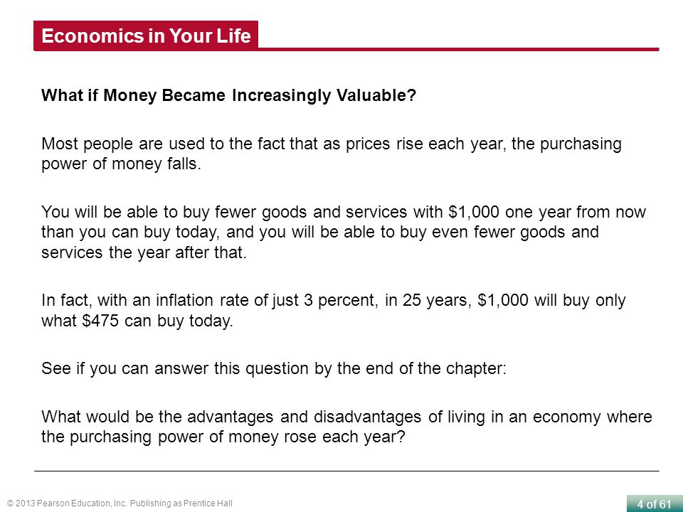 Economics in Your Life What if Money Became Increasingly Valuable
