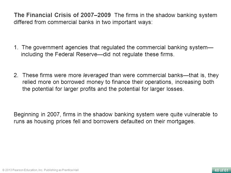 The Financial Crisis of 2007–2009 The firms in the shadow banking system differed from commercial banks in two important ways: