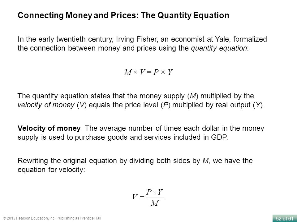 Connecting Money and Prices: The Quantity Equation
