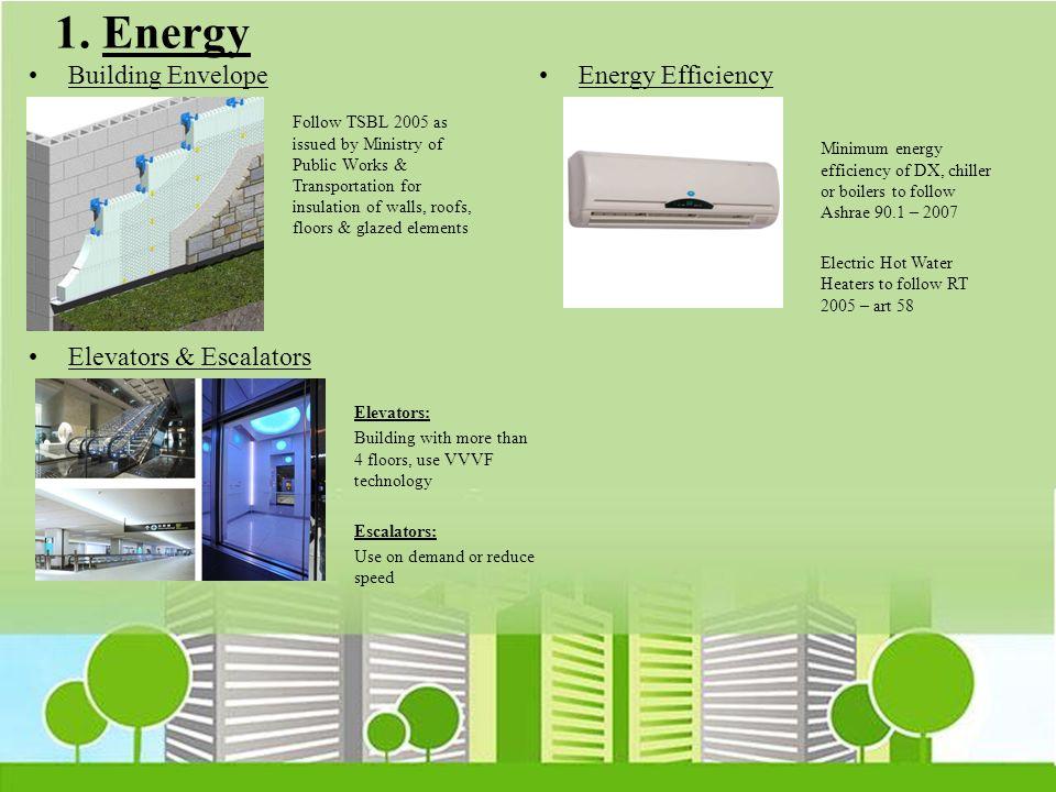 1. Energy Building Envelope Energy Efficiency Elevators & Escalators