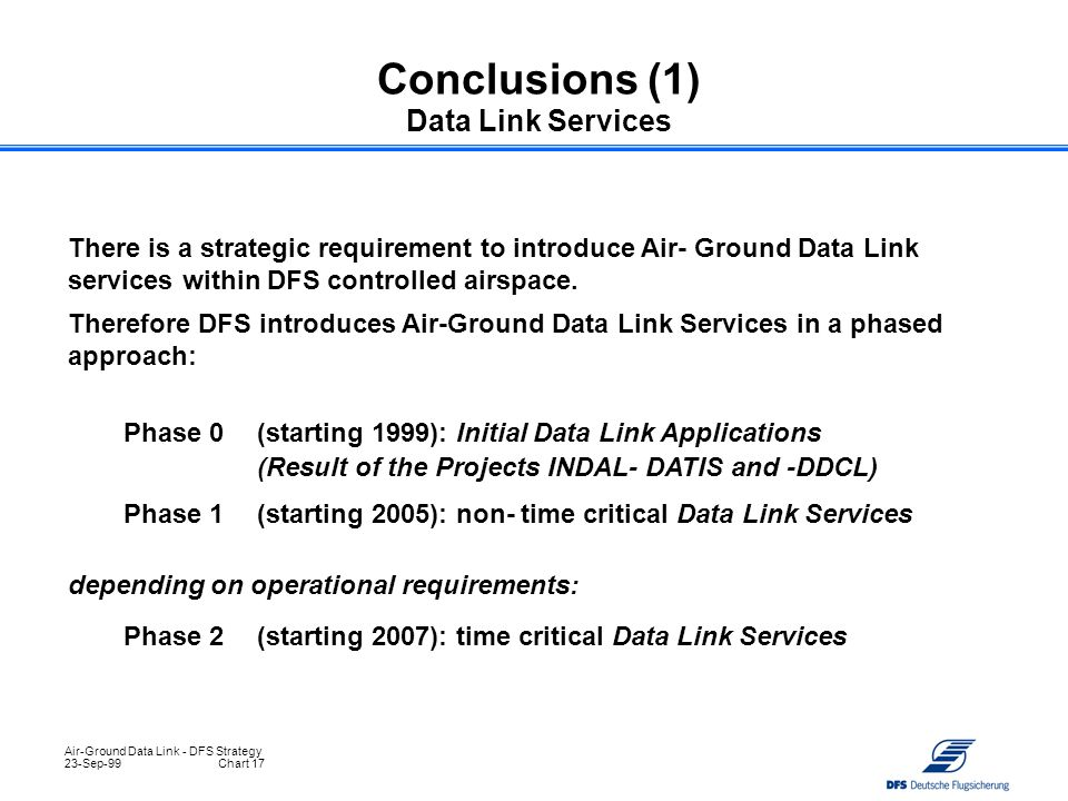 Conclusions (1) Data Link Services