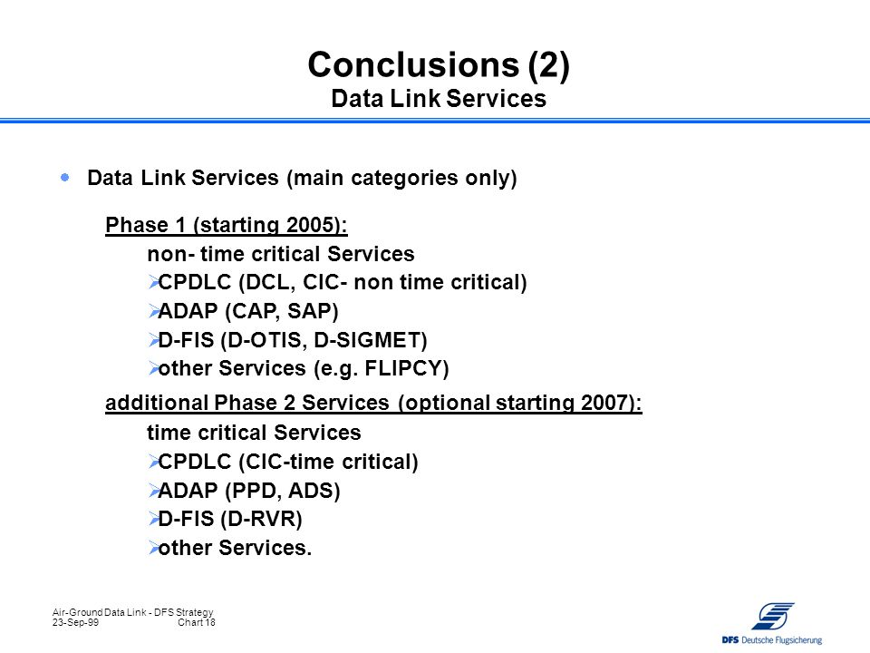 Conclusions (2) Data Link Services
