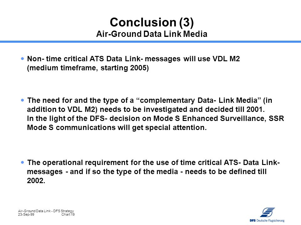 Conclusion (3) Air-Ground Data Link Media