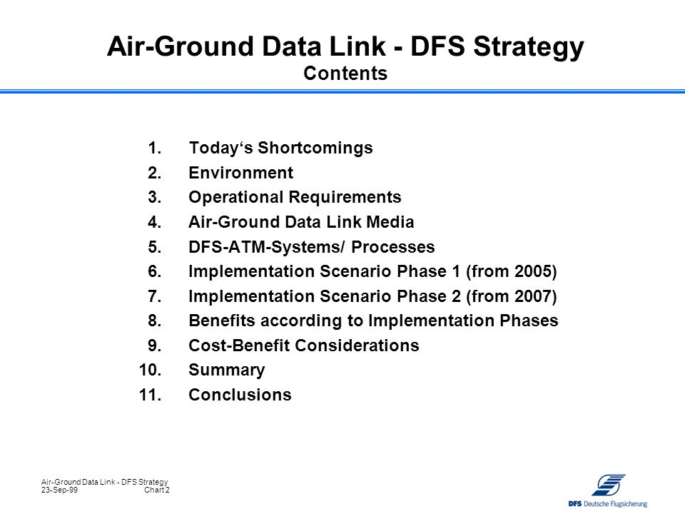 Air-Ground Data Link - DFS Strategy Contents