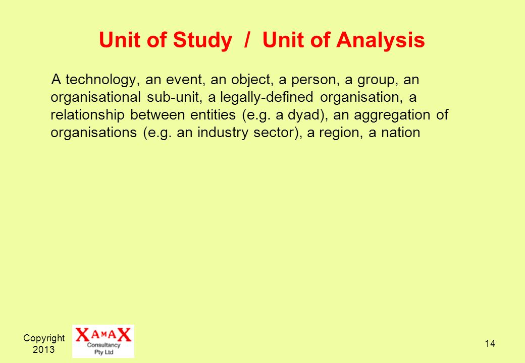Unit of Study / Unit of Analysis