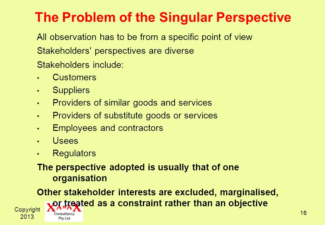 The Problem of the Singular Perspective