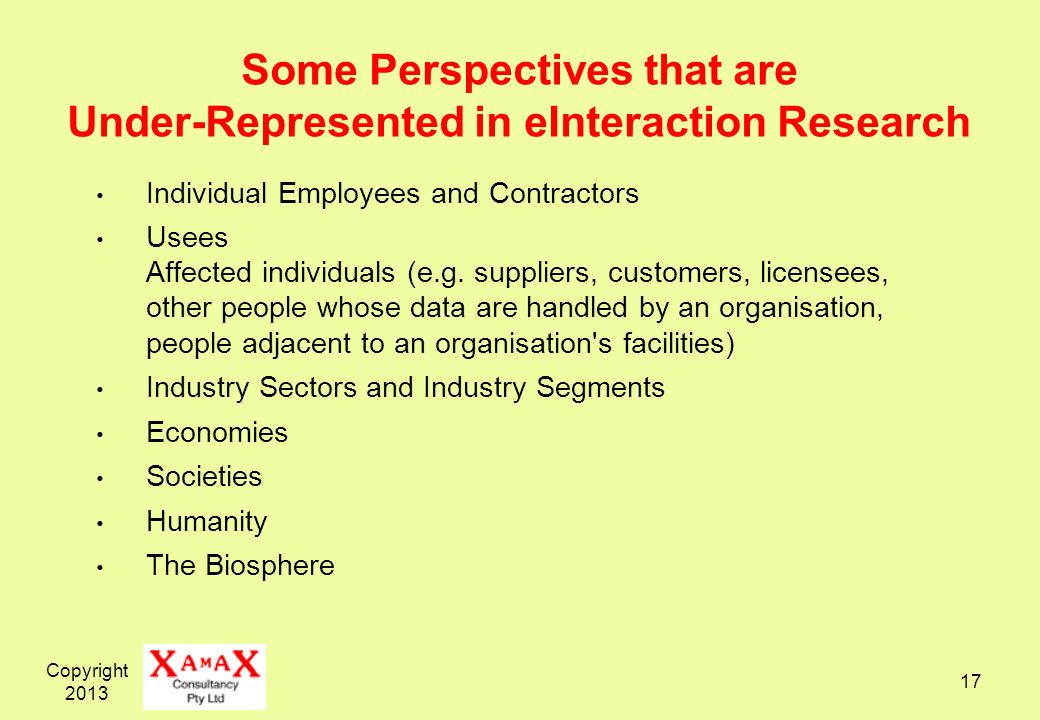 Some Perspectives that are Under-Represented in eInteraction Research