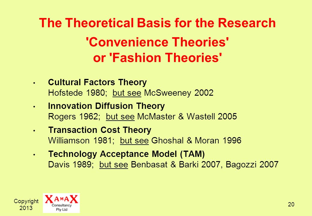 The Theoretical Basis for the Research Convenience Theories or Fashion Theories