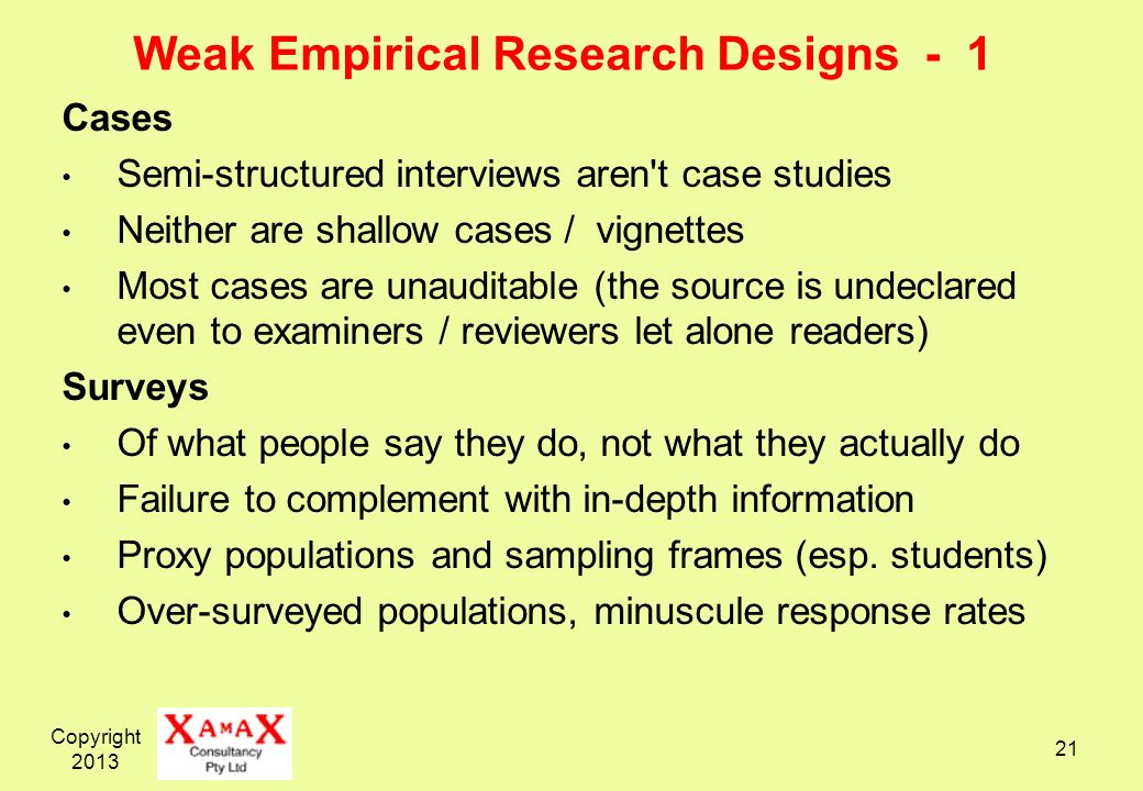 Weak Empirical Research Designs - 1