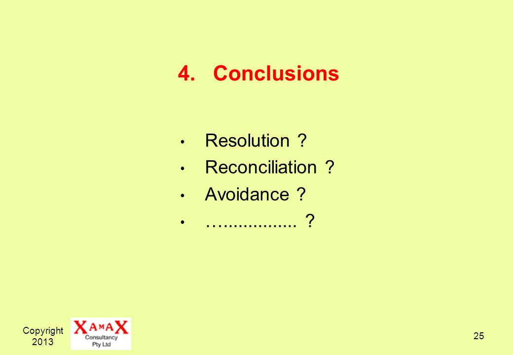 4. Conclusions Resolution Reconciliation Avoidance