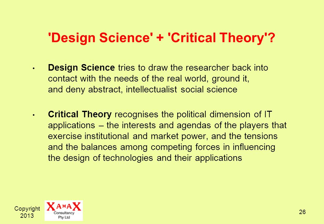 Design Science + Critical Theory