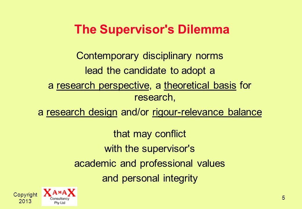 The Supervisor s Dilemma