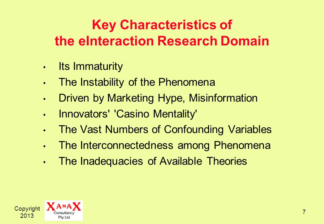 Key Characteristics of the eInteraction Research Domain