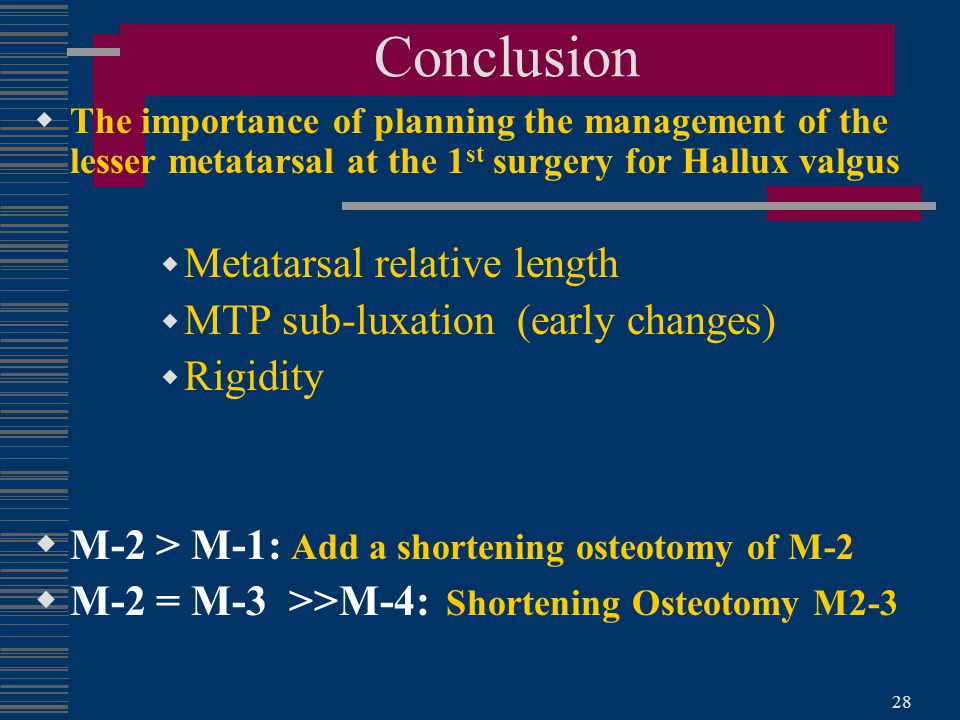 Conclusion Metatarsal relative length MTP sub-luxation (early changes)