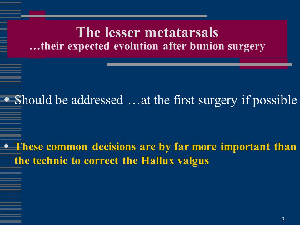 The lesser metatarsals …their expected evolution after bunion surgery