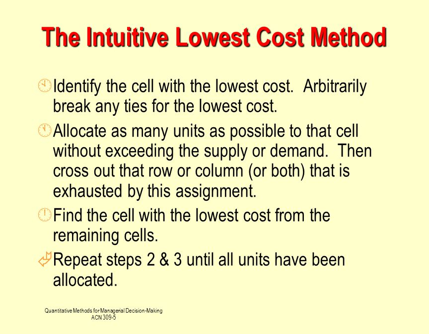The Intuitive Lowest Cost Method