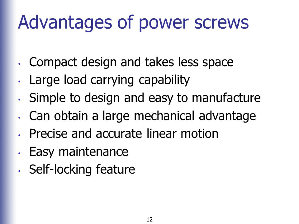 Advantages of power screws
