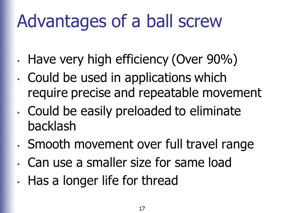 Advantages of a ball screw