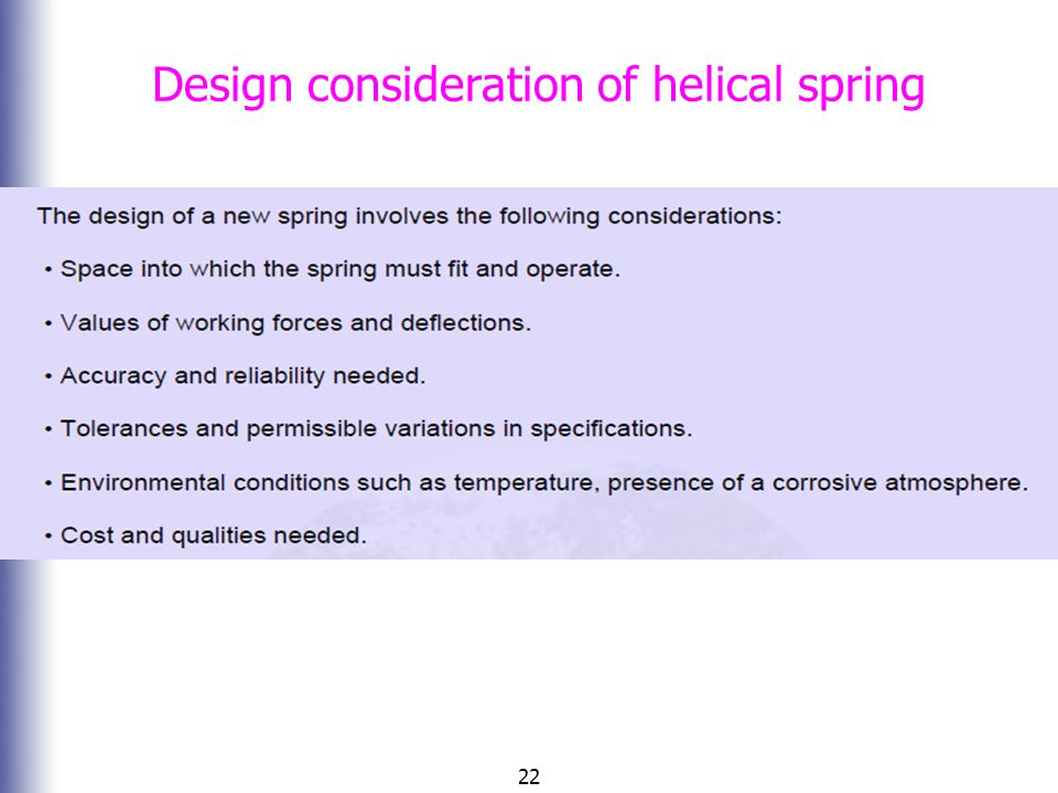 Design consideration of helical spring