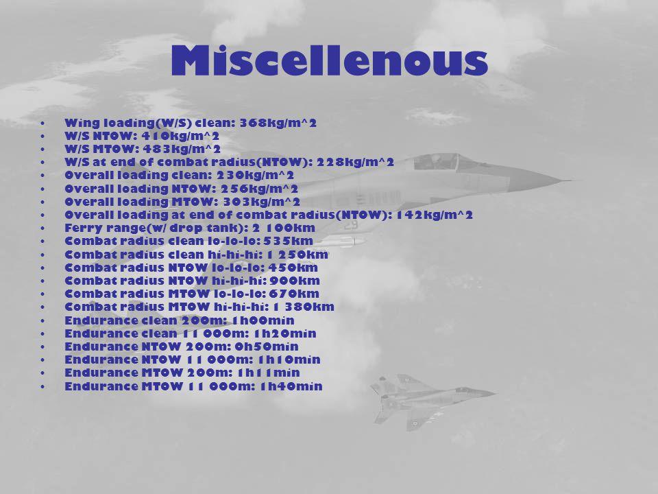 Miscellenous Wing loading(W/S) clean: 368kg/m^2 W/S NTOW: 410kg/m^2
