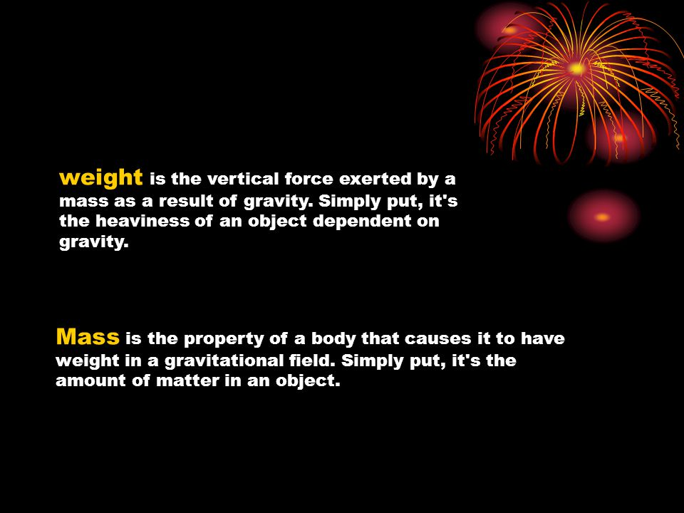 weight is the vertical force exerted by a mass as a result of gravity