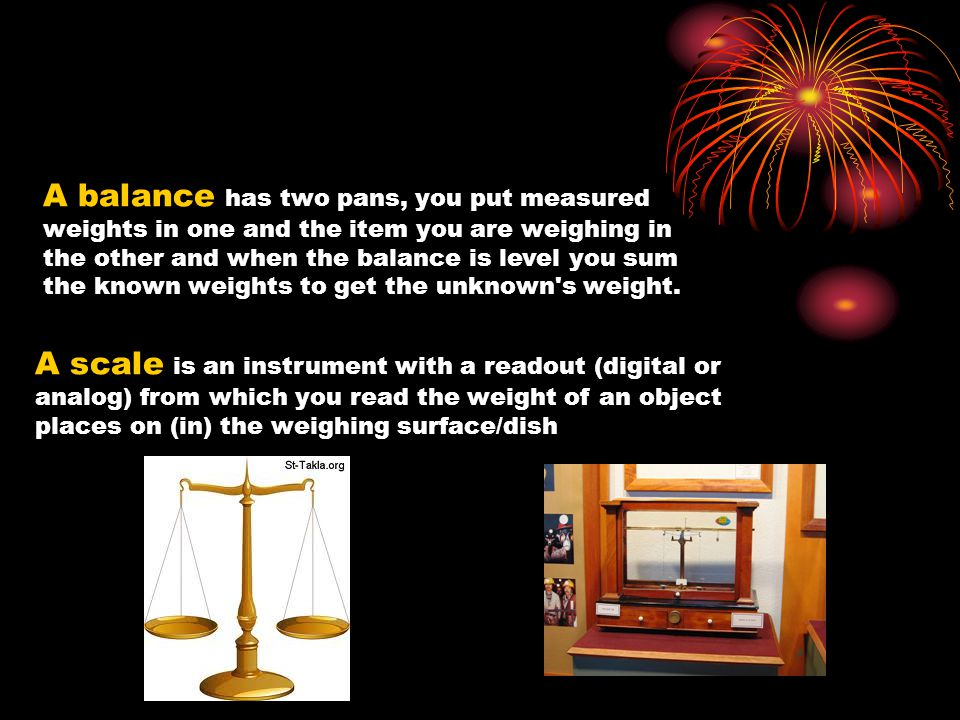 A balance has two pans, you put measured weights in one and the item you are weighing in the other and when the balance is level you sum the known weights to get the unknown s weight.