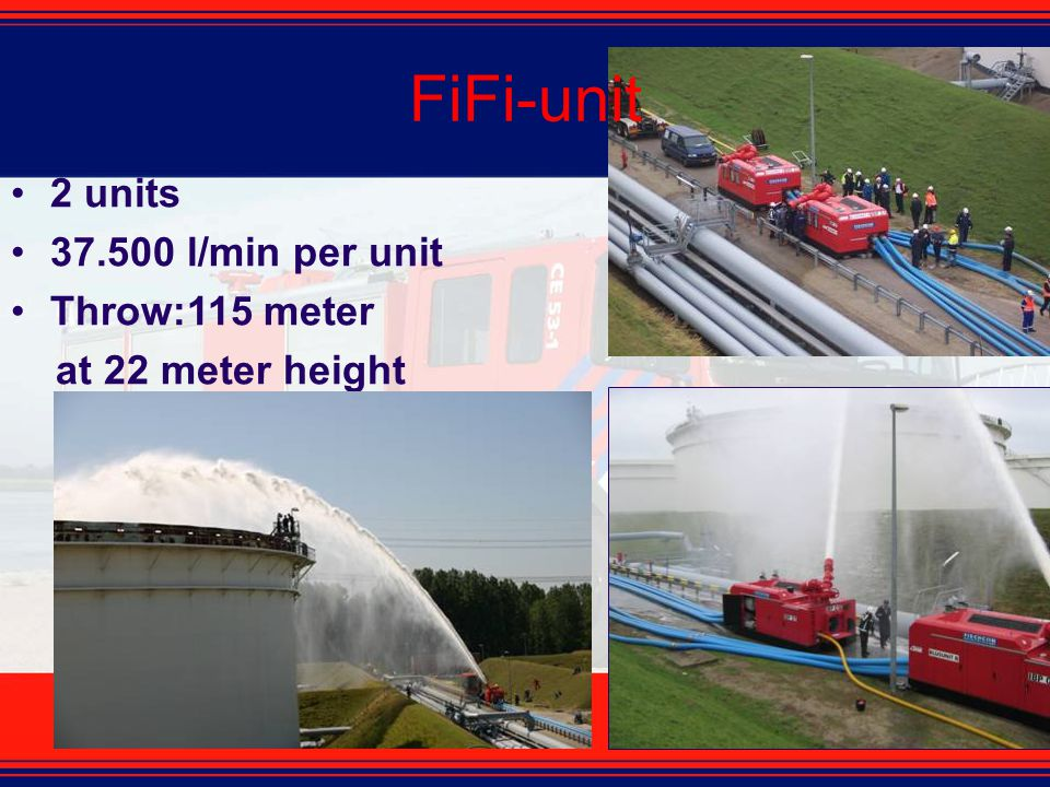 FiFi-unit 2 units 37.500 l/min per unit Throw:115 meter