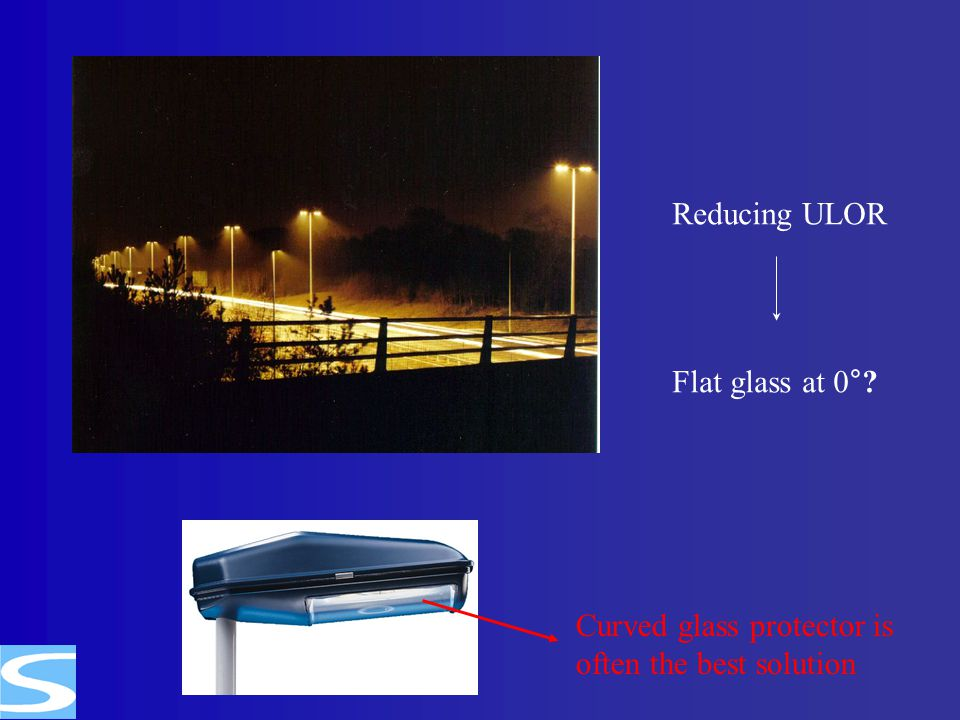 Reducing ULOR Flat glass at 0° Curved glass protector is often the best solution