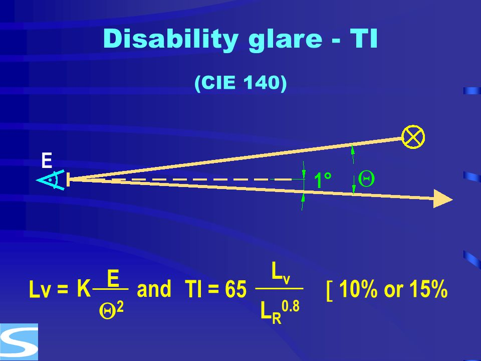 Disability glare - TI  K E 2 and Lv = TI = 65 Lv LR0.8  10% or 15%