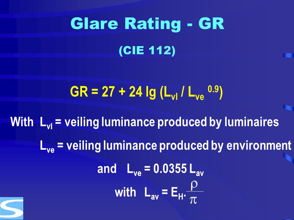 Glare Rating - GR GR = 27 + 24 lg (Lvl / Lve 0.9)  