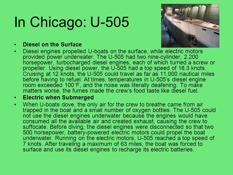 In Chicago: U-505 Diesel on the Surface